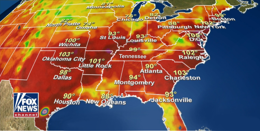 Michigan to New York heatwave map.