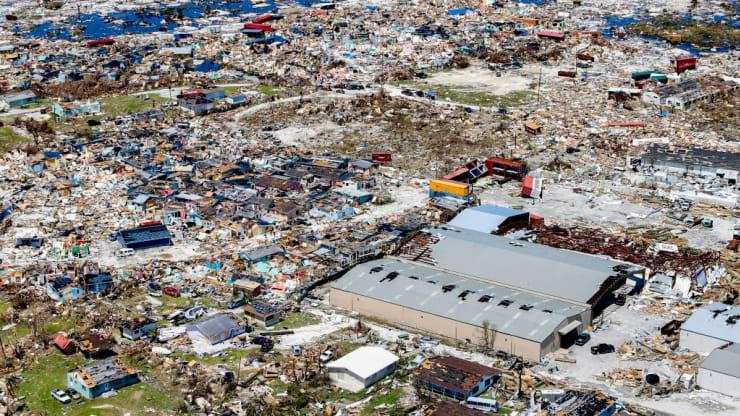 Hurricane Dorian devastating damages to the Bahamas.